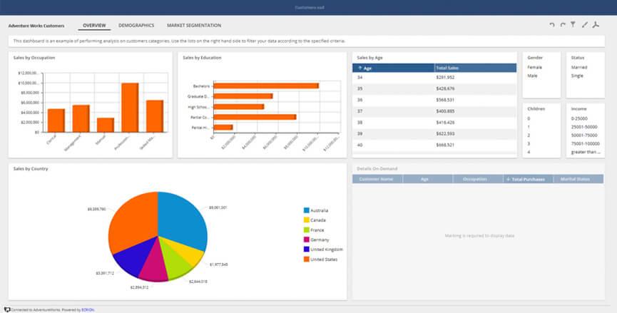 Customer Dashboard Interactive Sample